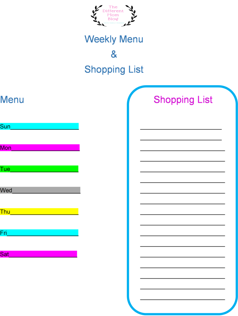 Free Menu planner and grocery bill for monthly grocery bill savings
